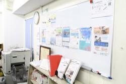 センターの掲示板。様々なイベント・ボランティア情報を学生に発信。